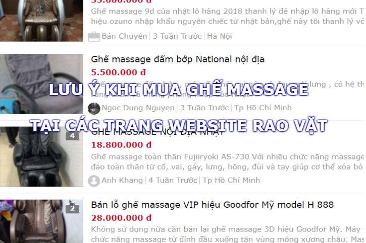 Cẩn thận khi mua ghế massage cũ thanh lý tại web cho tot